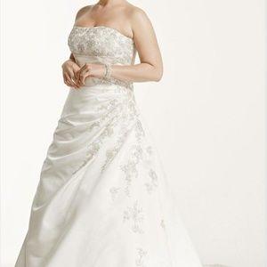 Davids Bridal A line side drape strapless gown